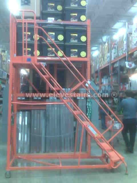 High Quality Portable Ladders Warehouse Stairs Rolling Ladders