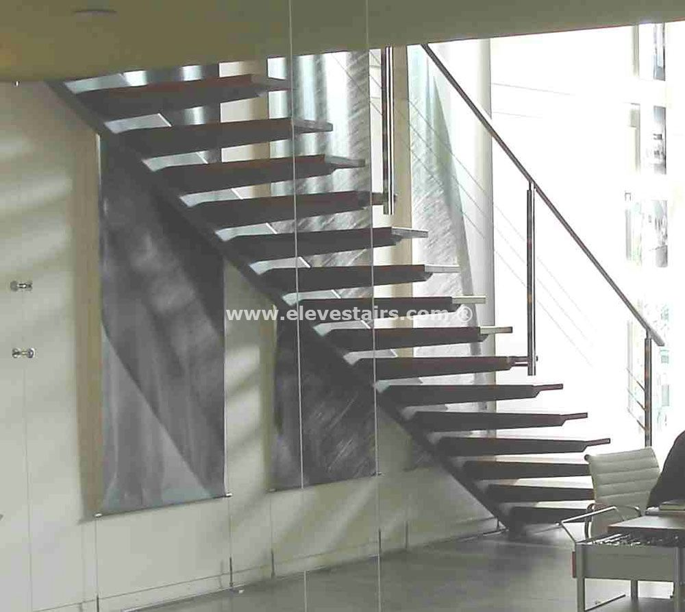 Special straight stairs eleve kit modular wood steel - Escaleras modernas interiores ...